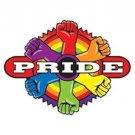 Gay Pride Target Bullseye Sticker Rainbow Fists Circle