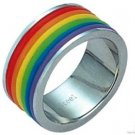 Gay Pride Ring Rainbow Colored Rubber Rings Stainless Steel