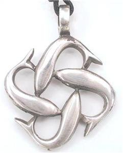 4 Dolphins Pattern Pewter Pendant Necklace