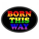 BORN THIS WAY Auto Magnet Euro Rainbow Gay Pride