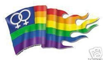 Wavy Lesbian Pride Flag Bumper Sticker Double Female