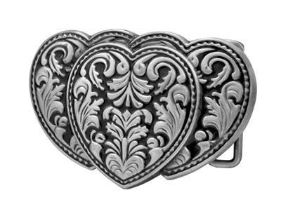 Silver Triple Hearts 3-D Belt Buckle on Black Enamel Western Cowgirl NEW