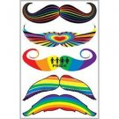 Temporary Tattoos Rainbow Stache Gay Pride Mustache