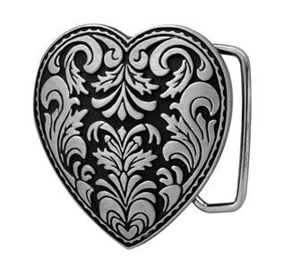 Silver Heart 3-D Belt Buckle on Black Enamel Western Cowgirl NEW