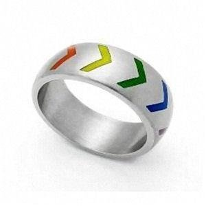 Gay Pride Victory Rainbow Ring Stainless Steel
