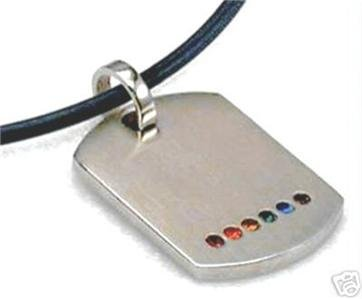 Stainless Steel Dog Tag Pendant Lesbian Gay Pride