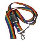 Gay Pride Rainbow Woven Ribbon Lanyard Keychain