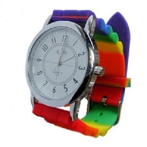 Rainbow Silicone Watch Gay Pride Unisex Wristwatch Jelly Gel Analog Sports