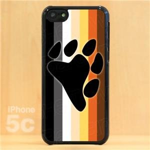 iPhone 5c Slim Hard Cell Phone Case Gay Bear Pride Flag w Bear Paw Slim Fit