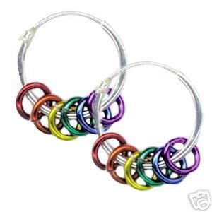 Gay Pride Rainbow Rings Hoop Earrings Silver 5/8 Inch