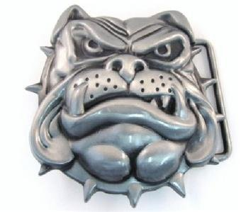Animal Belt Buckle 3D English Bulldog Bull Dog Head w Spiked Collar Metal