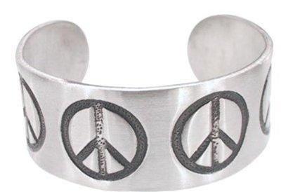 Peace Symbol Pewter Cuff Bracelet Peace Sign SALE