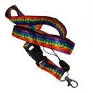 Gay Pride Rainbow Peace Woven Ribbon Lanyard Keychain