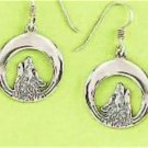 0.925 Sterling Silver Howling Wolf Hook Earrings