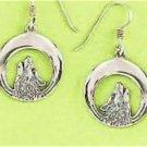 0.925 Sterling Silver Howling Wolf Hook Earrings