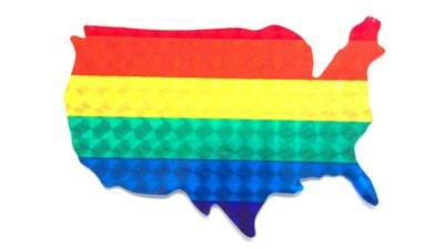 "Gay Pride HOLO Rainbow America USA Sticker 4"" x 3"" Holographic Reflect"