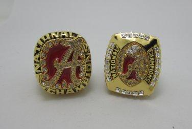 2PCS 2009 2011  Alabama Crimson NCAA Football Championship ring replica size 11 US Solid back