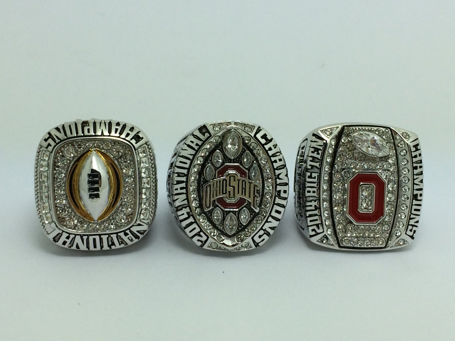 One Set 3PCS 2014-2015 Ohio State Buckeyes College Championship Ring 8-14 Size