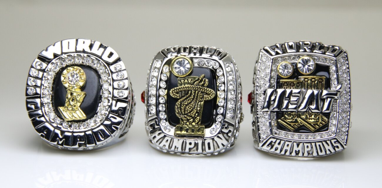 3pcs 2006 2012 2013 Miami Heat Nba Rings Replica Size 10 Us James Or Wade Name