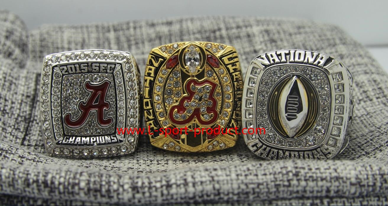 3 PCS 2015 2016 Alabama Crimson Tide  National Championship Ring 8-14S