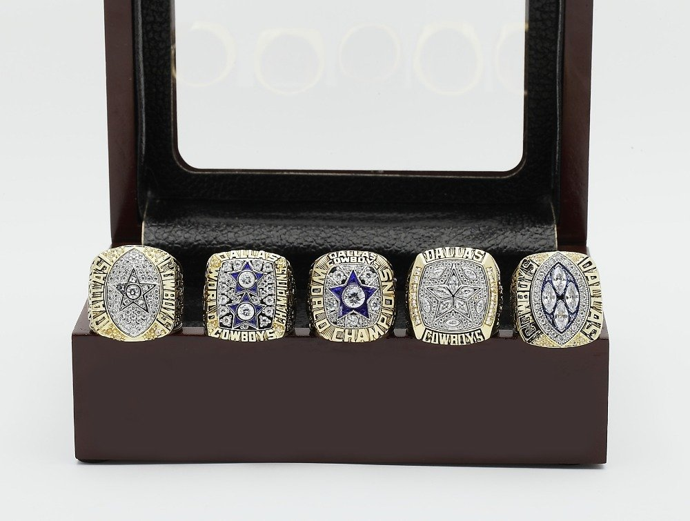 5 PCS 1971 1977 1992 1993 1995 CHAMPIONSHIP RING Dallas Cowboys 10-13 size +wooden case