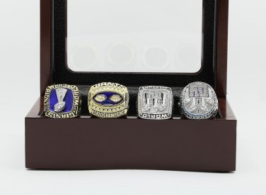 4PCS 1986 1990 2007 2011 Super bowl CHAMPIONSHIP RING New York Giants 10-13 size +wooden case