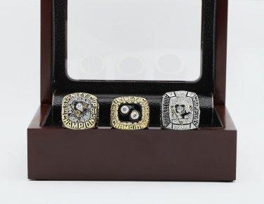 3PCS 1991 1992 2009 Pittsburgh Penguins NHL CHAMPIONSHIP RING 10-13 size +wooden case