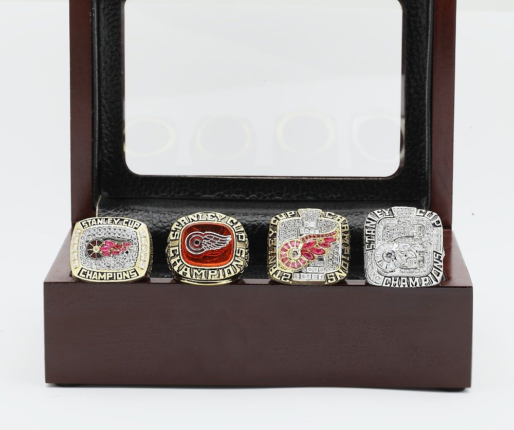 4PCS 1997 1998 2002 2008 Detroit Red Wings NHL CHAMPIONSHIP RING 10-13 size +wooden case
