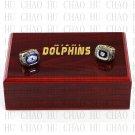 One Set 2 PCS 1972 1973 Miami Dolphins super bowl rings 10-13 size Logo wooden case