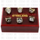 6 PCS 1974 1975 1978 1979 2005 2008 Pittsburgh Steelers rings 10-13 size Logo wooden case