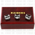 One Set 3PCS 1976 1980 1983 Oakland Raiders rings 10-13 size Logo wooden case