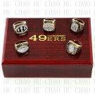 One Set 5 PCS 1981 1984 1988 1989 1994 San Francisco 49ers rings 10-13 size Logo wooden case