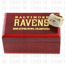 2000 Super bowl CHAMPIONSHIP RING Baltimore Ravens 10-13 size with Logo wooden case