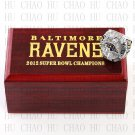 2012 Super bowl CHAMPIONSHIP RING Baltimore Ravens 10-13 size with Logo wooden case
