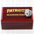 2004 Super bowl CHAMPIONSHIP RING New England Patriots 10-13 size with Logo wooden case