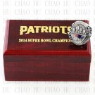2014 Super bowl CHAMPIONSHIP RING New England Patriots 10-13 size with Logo wooden case