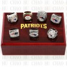 7PCS 1985 2001 2003 2004 2007 2011 2014 New England Patriots rings 10-13S Logo wooden case