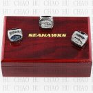One Set 3PCS  2005 2013 2014 Super bowl RINGS Seattle Seahawks ring 10-13 size with Logo wooden case