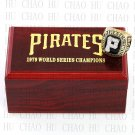 TEAM LOGO WOODEN CASE 1979 PITTSBURGH PIRATES World Series CHAMPIONSHIP RING 10-13S