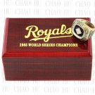TEAM LOGO WOODEN CASE 1985 Kansas city royals World Series CHAMPIONSHIP RING 10-13S