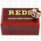 TEAM LOGO WOODEN CASE 1990 CINCINNATI REDS World Series CHAMPIONSHIP RING 10-13S