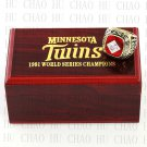 TEAM LOGO WOODEN CASE 1991 MINNESOTA TWINS World Series CHAMPIONSHIP RING 10-13S