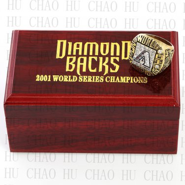 TEAM LOGO WOODEN CASE 2001 ARIZONA DIAMONDBACKS World Series CHAMPIONSHIP RING 10-13S
