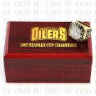 TEAM LOGO WOODEN CASE 1987 EDMONTON OILERS Hockey Championship Ring 10-13S
