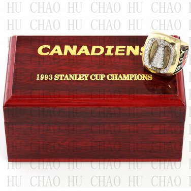 TEAM LOGO WOODEN CASE 1993 Montreal Canadiens Hockey Championship Ring 10-13S