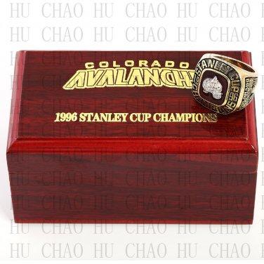 TEAM LOGO WOODEN CASE 1996 COLORADO AVALANCHE Hockey Championship Ring 10-13S