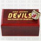 TEAM LOGO WOODEN CASE 2000 New Jersey Devils Hockey Championship Ring 10-13S