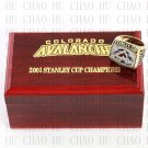 TEAM LOGO WOODEN CASE 2001 COLORADO AVALANCHE Hockey Championship Ring 10-13S