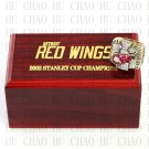 TEAM LOGO WOODEN CASE 2002 Detroit Red Wings Hockey Championship Ring 10-13S