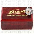 TEAM LOGO WOODEN CASE 2007 Anaheim Mighty Ducks Hockey Championship Ring 10-13S